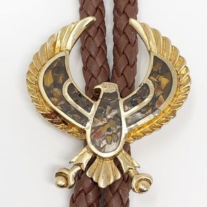Vintage Gold and Resin Eagle Bolo Tie